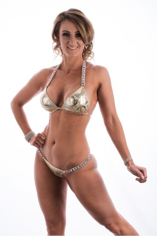 Gold Hologram Muscle Dazzle Bikini